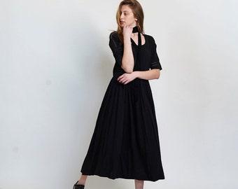 Summer SALE Placket trim maxi dress-Maxi black dress.