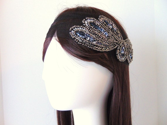 SALE Flapper Headpiece, Flapper Hairpiece, Tulle Headpiece, Great Gatsby, 1930, Roaring 1920's, Bridal Cap, Charcoal Beaded Headpiece ALLURE