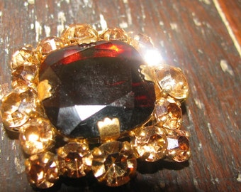 Large Juliana type glass amber and citrine brooch - amazing
