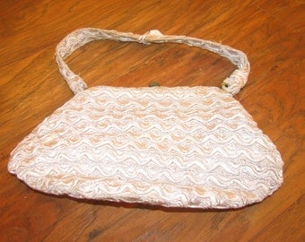 Woven gray silk  bag with fabric handle and 1950s clear lucite / plastic interior