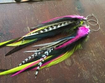 Lightweight Feather Hoop Earrings Hot Pink Neon Yellow Feather Earrings Feather Hoops Medium Long Dangle Earrings Feather Plugs/Gauges