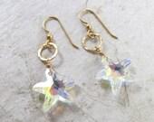 Starfish Crystal Earrings, Gold, Hawaii Beach Jewelry, Swarovski Crystals, Sparkling, Holiday Gift Idea, Mermaid Fashion, Dangle Drop