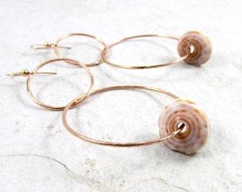 Rose Gold Double Hoop Puka Shell Earrings, Hammered Hoops, Hawaii Beach Jewelry, Fall Fashion, Handmade Maui Hawaiian Shells,  Gift