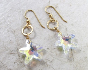 Starfish Crystal Earrings, Gold, Hawaii Beach Jewelry, Swarovski Crystals, Sparkling, Holiday Gift Idea, Mermaid Fashion, Dangle Drop