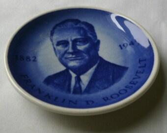 Vintage Royal Copenhagen Miniature Porcelain FDR Souvenir Plate