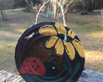 Tin Can Lid Art..Rusty Primitive Garden Art..Ladybug Flower..OOAK..Naive Painting..Wall Art..Recycled Upcycled Salvaged T2T