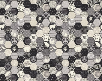 1YD HEXAGON HONEYCOMB Happy Haunting Black Gray Halloween Riley Blake Fabric Quilting Sewing c4673-gray-21071