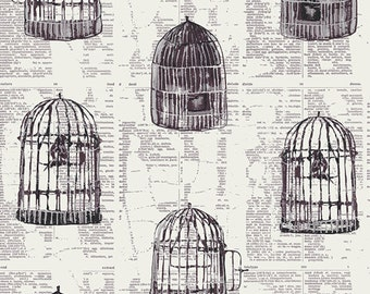 Wonderland Uncaged Words in Linen, Katarina Roccella, Art Gallery Fabrics, 100% Cotton Fabric, WND-1536