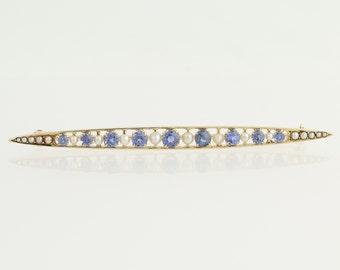 Edwardian Era Sapphire & Seed Pearl Brooch - 14k Yellow Gold Genuine 1.04ctw L7952