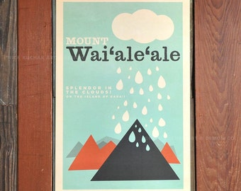 Mount Waialeale, Kauai - 12 x 18 Retro Hawaii Travel Print