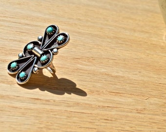 Turquoise Gypsy Ring, Size 5 1/2, Silver, Native American, Southwest Jewelry, Ring, Santa Fe, New Mexico, Handmade