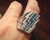 Vintage 1980's Southwestern Real Turquoise Lighting Bolt Men's Ring