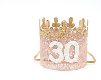 Ready to Ship|| 21st 30th 40th Birthday MINI crown || blush + rose gold || sparkly white number lace crown headband|| ANY AGE