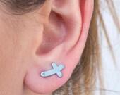 Cross earring, side cross, silver cross, sideways cross, lightweight, religious jewelry, ear climber, light blue, bridesmaid gift, matte