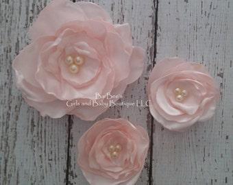 Blush Pink Bridal Flower Hair clip, Light Pink Wedding Hair Accessory, Flower Girl Hair Accessory