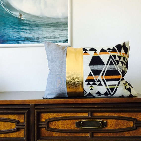"Black, White, Grey Boho Tribal Pillow Cover 14""x18"" Lumbar Cushion Pillow Ethnic Triangle Diamond Bohemian Aztec Motif Metallic Gold Pillow"