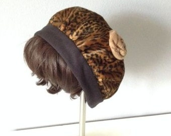 Handmade Faux Fur Leopard Tam Cap/Hat, floral satin lined