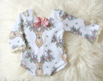 Newborn Deer Print Romper,  Baby Girl, Clothing, Lace Top, Diaper Cover, Clothing, Photography Prop, Clothing, Ready to Ship