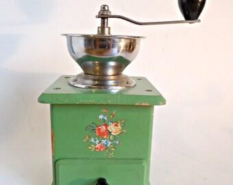 Vintage Coffee Grinder Green Decals