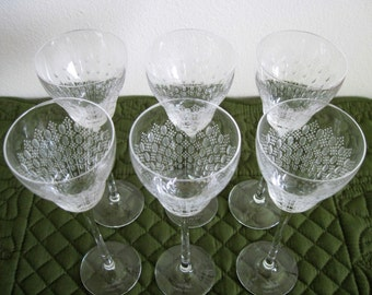 6 Vintage Rosenthal Long Stem Studio-Linine Crystal Glass Cordials Romance II Pattern  Circa 1966