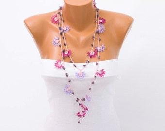Beaded oya necklace ,crochet necklace, Turkish oya  necklace ,crochet flower necklace
