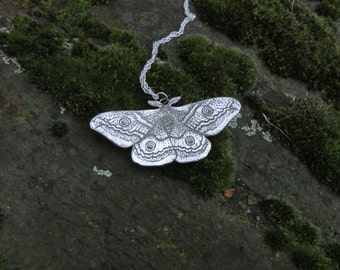 Moth Necklace - Silver Moth Necklace - Emperor Moth Pendant
