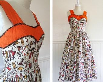 50s Novelty Print Dress --> 1950s Cotton Dress --> Vintage 1950s Dress -->  Vintage 50s Day Dress --> 50s Dress --> 1950 Dress --> Sundress