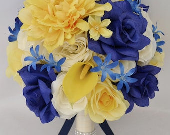 """17 Piece Package Wedding Bridal Bride Maid Of Honor Bridesmaid Bouquet Boutonniere Corsage Silk Flower YELLOW NAVY """"Lily Of Angeles"""" YEBL01"""