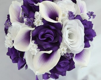 """Bridal Bouquets Wedding 17 Piece Package Bouquet Silk Flowers Bride Groom Real Touch Picasso Calla Lily PURPLE WHITE """"Lily of Angeles WTPU05"""