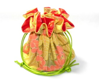 Drawstring Jewelry Bag Pouch - Jewelry organizer - Orange, yellow and green floral travel bag