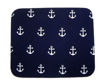 Mouse Pad - Fabric mousepad - Nautical Anchors Navy Blue- Home office / computer / Electronic