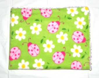Baby Blanket - Pink ladybugs and white daisies fleece fabric - Pink swirl Minky