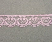 Medium Pink Flat Scalloped Edge Lace ... 1 Inch Wide ... You Choose Length (1 Yd, 2 Yds, 3 Yds, 4 Yds, 5 Yrds) ... Item No. L292