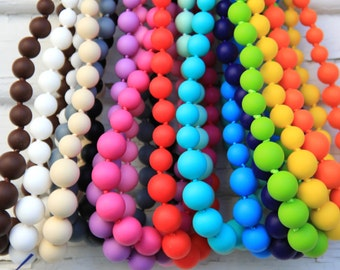 Ships Fast - Silicone Teething Necklace - Round Beads - FREE SHIPPING - Layered bead nursing necklace - Lots of colors - Sensory teething