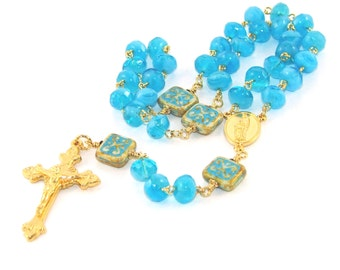 3 Decade Rosary, Holy Spirit / Holy Family Center, Blue & Gold