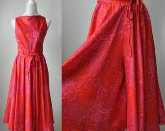 Vintage Dress, Vintage Pink Dress, 1950s Pink Dress, Pink Cotton Dress, Vintage Culottes, Pink Culottes Dress, 1950 Culottes, Culottes Dress