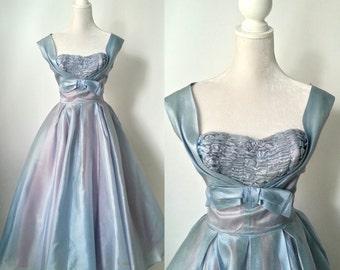 Vintage 1950s Light Blue Dress, Wedding, Prom