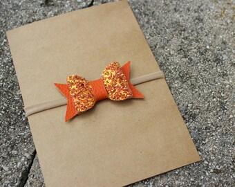 Pumpkin Orange {PRESLEY} Headband - Nylon Headbands - One Size Fits All - Glitter + Faux Leather - Fall Inspired