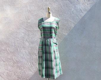Vintage 50s Cotton Sundress, Green Plaid Dress, 1950 Day Dress, Sleeveless Dress