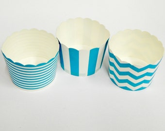 Cupcake Baking Cups, 20 Aqua Baking Cups, Candy / Nut Cup, Baking Cups, Ring Stripe, Vertical Stripe, Chevron, Muffin Liners, Cupcake