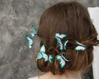 Blue White Butterfly Hair Pins Set Wholesale Hairpins Accessory Decoration Butterflies Hair Piece Headpiece Bridal Wedding Birthday Hair