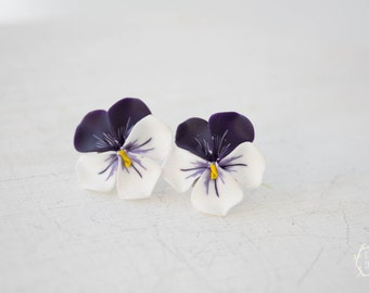 Dark Purple White Pansies Kiss-me-quick stud earrings small hypoallergenic studs earstuds ear girls accessory handmade gifts
