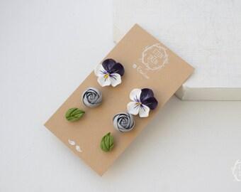 White Purple Silver Green Stud Earrings 3 Set Wholesale Flower Ranunculus Pansies Studs Women Accessory Wedding Birthday Gift
