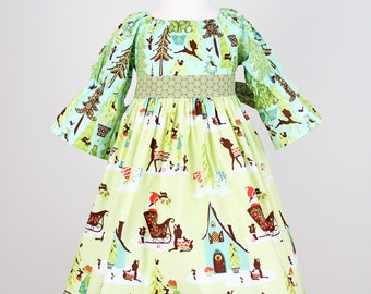 SALE 5/6T Sleigh Ride Christmas Dress, Ready to Ship. Last One
