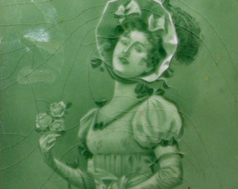 Sherwin & Cotton George Cartlidge Figurative Tile 1887 Edwardian Woman Green