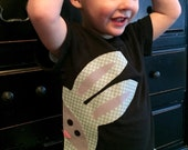Boy, baby, toddler, tween Funky Easter SHIRT with silly bunny rabbit applique peeking in for the big hunt- NB - 16 Fun for Easter egg hunt