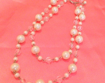 Vintage Faux Pearl and Clear Bead Multi Strand Necklace