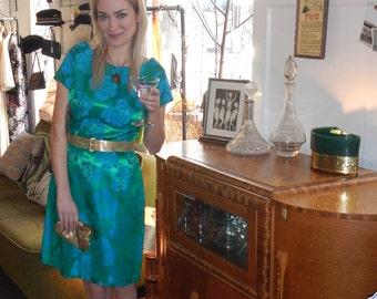 Vintage 1960's brocade wiggle dress