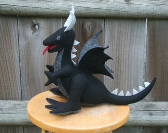 Ember Ash Dragon Fantasy Plush ~ Handcrafted Eco Friendly Stuffed Animal Toy, Handmade, Boys Gift, Black Dragon, Earthy Dragon Toy, Plushies