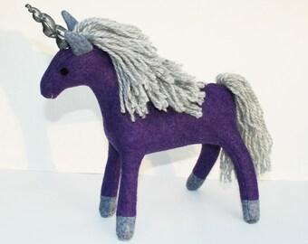 Purple Grapes Unicorn ~ Wool Felt Fantasy Plush, Handcrafted Eco Friendly Stuffed Animal Toy, Natural Kids Gift, Waldorf Unicorn, Earthy